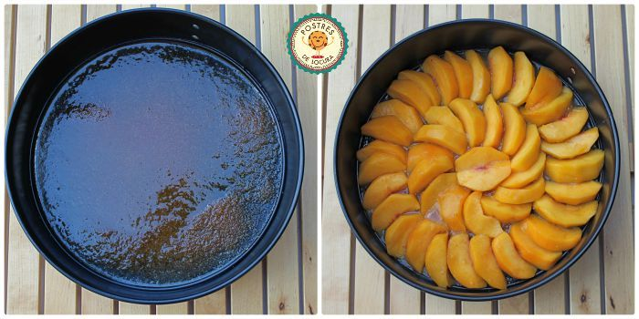 Preparacion capa fruta tarta de melocoton