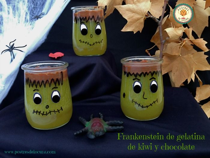 Frankestein de gelatina de kiwi y chocolate