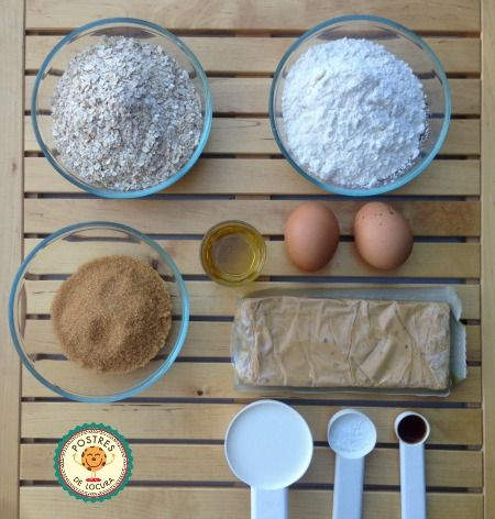 Ingredientes galletas de avena y turron