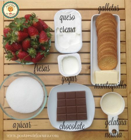 Ingredientes mini tartas de queso y fresa