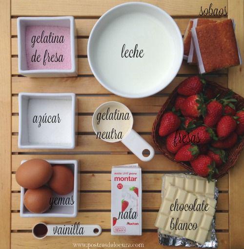 Ingredientes tarta de chocolate blanco y fresas sin horno