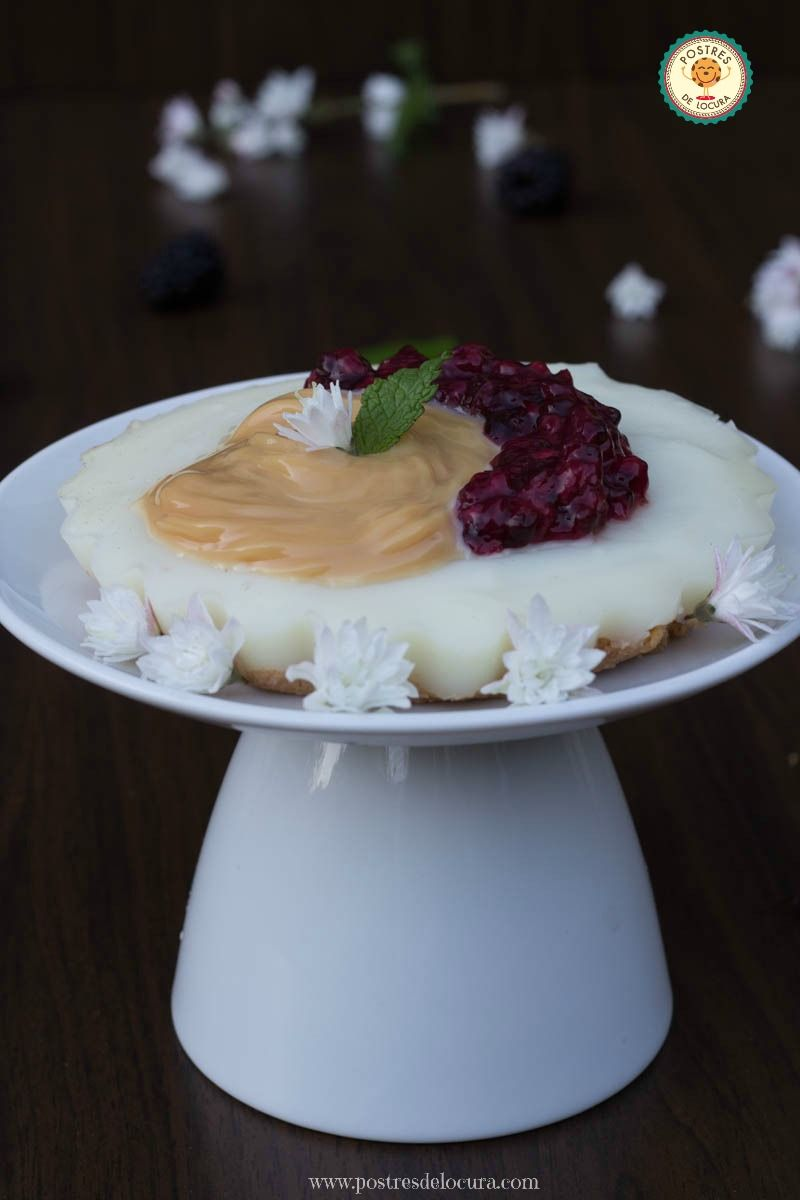 Tartaleta (sin horno) con dulce de leche y mora