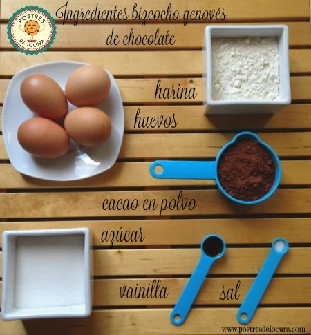 Ingredientes bizcocho genoves de chocolate