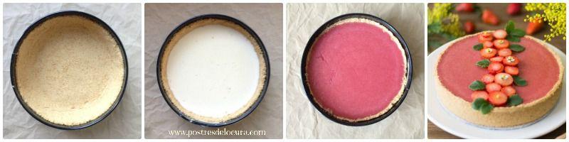 Preparacion tarta de panna cotta y fresas