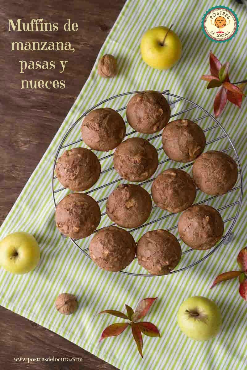Muffins de manzana pasas y nueces