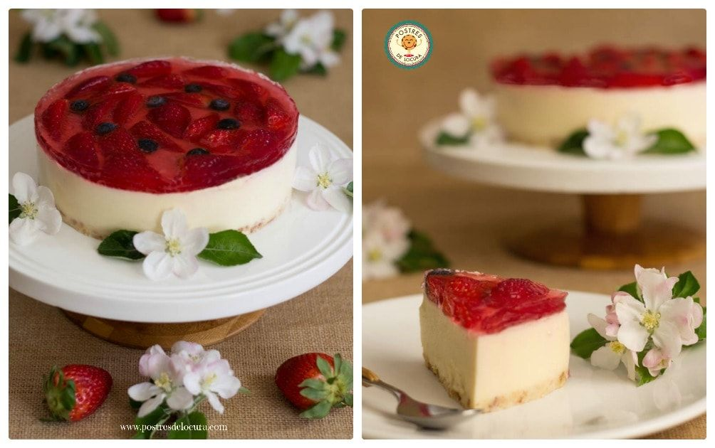 Tarta de chocolate blanco y fresas sin horno