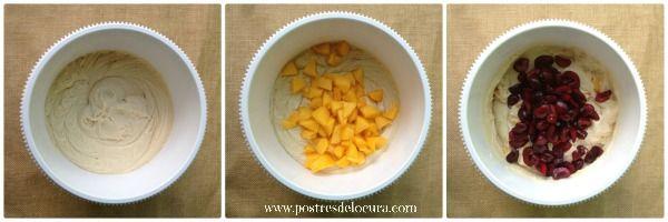 Preparacion bizcocho de yogur griego, melocoton y cerezas