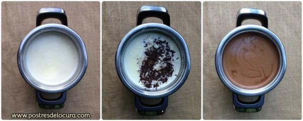 Preparacion crema de trufa de chocolate