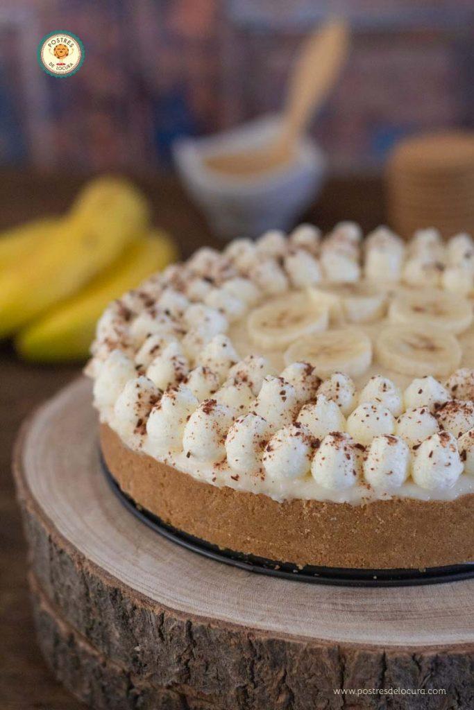 Tarta de plátano y dulce de leche sin horno