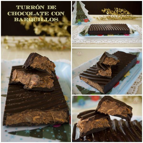 Turrón de Chocolate con Barquillos - Collage