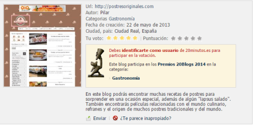 Premios 20 Blogs - Postres Originales