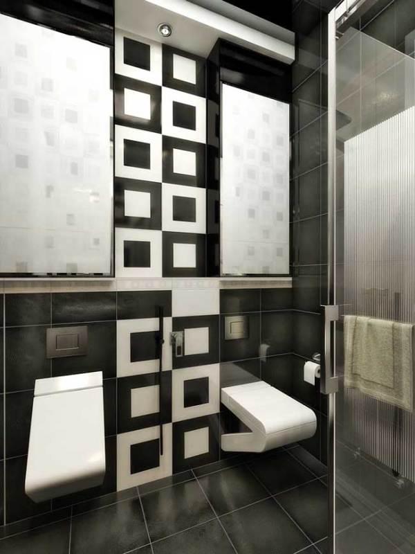 Черно-белая ванная. Дизайн совмещенной ванной комнаты с ...