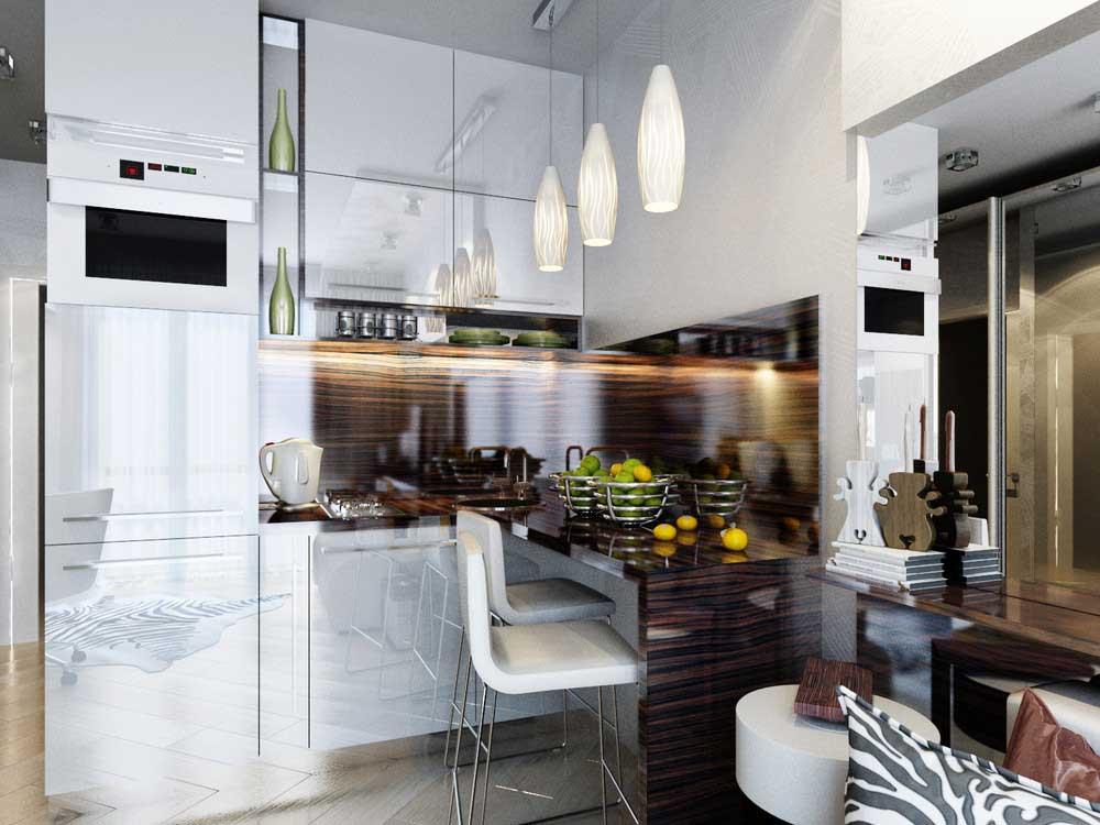 комната студия с кухней фото дизайн 20 квадратов 6