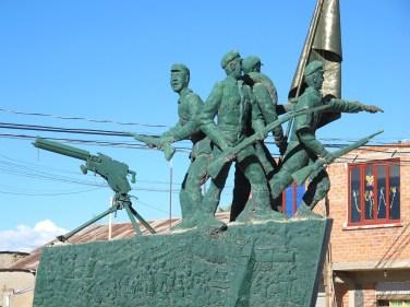 Statue outside the army barracks, Uyuni, Bolivia