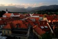 View of Kamnik from Mali Grad during sunset / Widok na Kamnik z Małego Zamku (Mali Grad) o zachodzie słońca