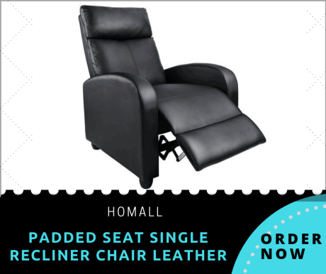 Homall Single Recliner Chair Padded Seat Black PU Leather Living Room Sofa Recliner