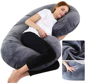 Dream night Big Size Pregnancy Pillow with Grey Jersey Cover