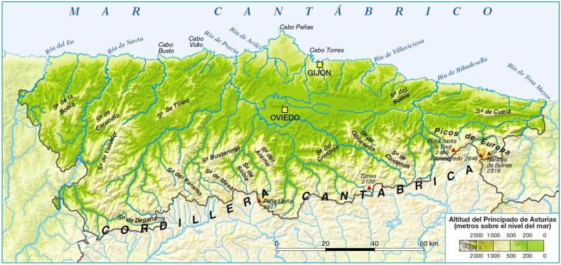 Mapa relieve Asturias