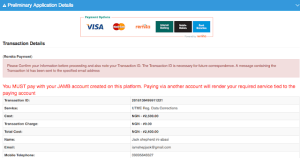 Click on payment options which will take you to Remita payment system