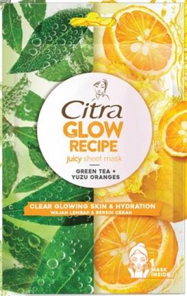 masker Citra Glow Recipe Juicy Sheet Mask Green Tea + Yuzu Orange