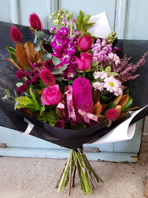 Hot pink flowers with dried blooms Posy & Twine Florist