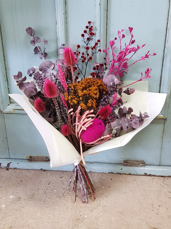 Pink dried flowers Posy & Twine Florist
