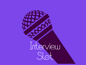 Purple square with Mic for interview