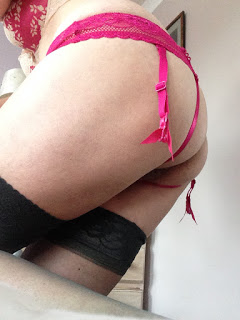 pink suspender panties and stockings