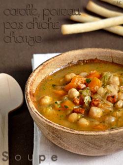 Soupe de pois chiches, poireaux, chorizo & coriandre Image