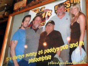 Cast of It's Always Sunny In Philadelphia with the owner of Paddy's Pub Philadelphia, Pennsylvania