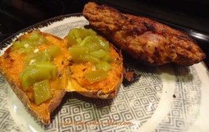Maple Citrus Pork Sausage Sweet Potato garnished with green Chiles