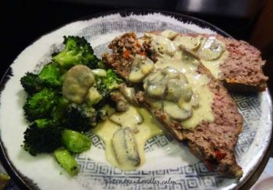 Dora Charles' Cheesy Meatloaf with mushroom sauce.