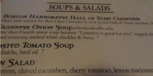 MJ O'Connor's Menu contains a hall of fame chowder.