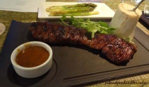 Skirt Steak with maitre de butter and au poivre sauce burlington, massachusetts