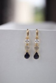 Customised 3 Gemstone Drops with Cubic Zirconia, Chalcedony and Iolite