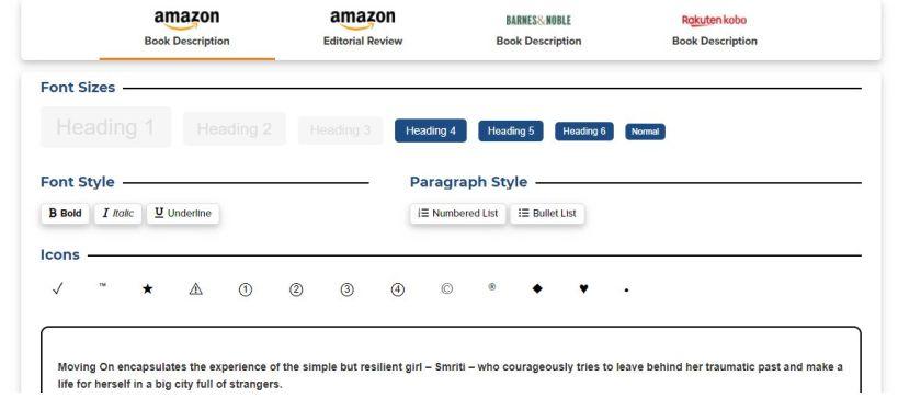 Features and web editor of Kindlepreneur Book description generator