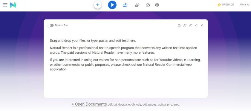 Screengrab of Natural Reader page where you can drag and drop files to be read