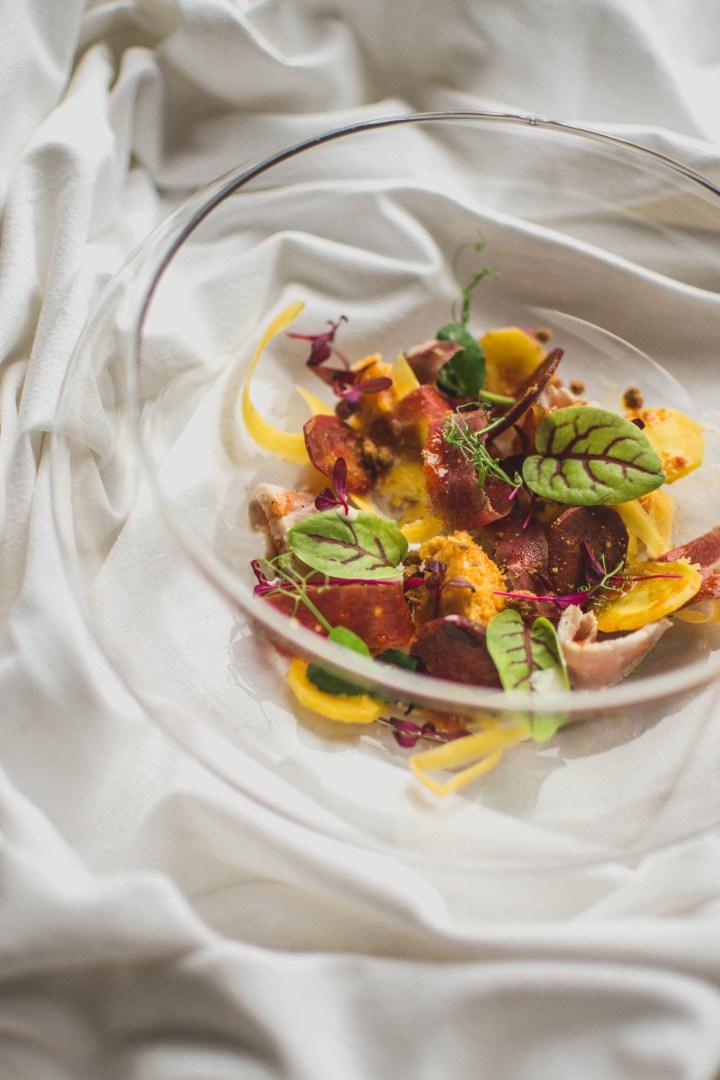 Mi-cuit de veau, purée de carotte au gingembre, caramel de jus de carotte et beurre blanc au spéculoos-Potimanon