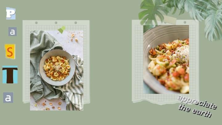 Orecchiette à la crème de panais, pistaches et pancetta grillée