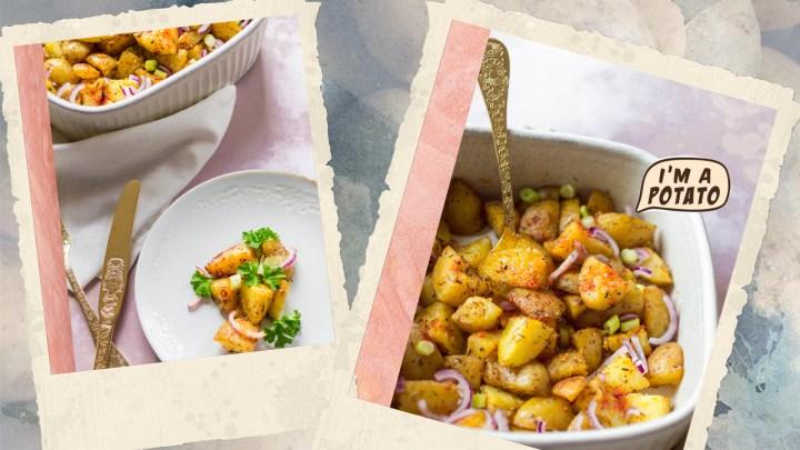 Pommes de terre au four, paprika, ail et jeunes oignons
