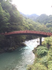 Shinkyu sacred bridge is right by a road, but this view doesn't reveal its proximity to the modern world