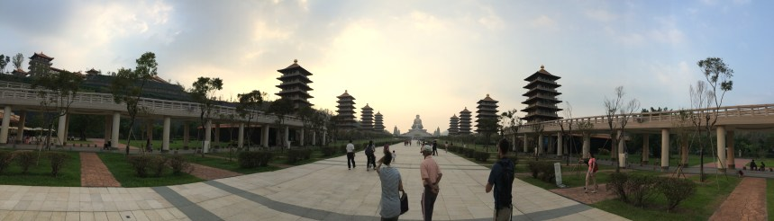 Lovely evening for a stroll towards giant Buddha at Fo Guang Shan Buddha Museum