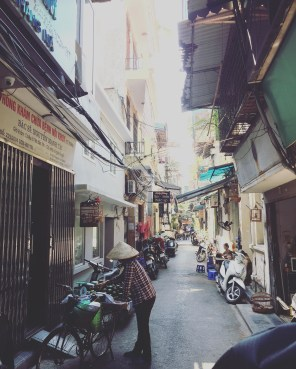 One of many quiet alleys where Hanoi's people live. It's hard to believe how quiet it is here, only a block away from the bustling main road.