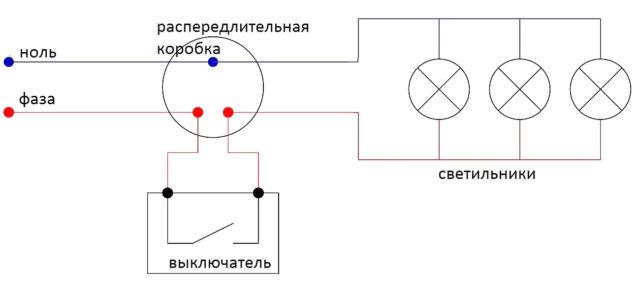 แผนภาพการเชื่อมต่อแบบขนานของไฟจุด