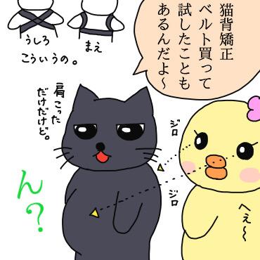 猫背矯正ベルトを試した過去を話すクロにゃんと猫背とお腹の出っ張りに気づくぴのり