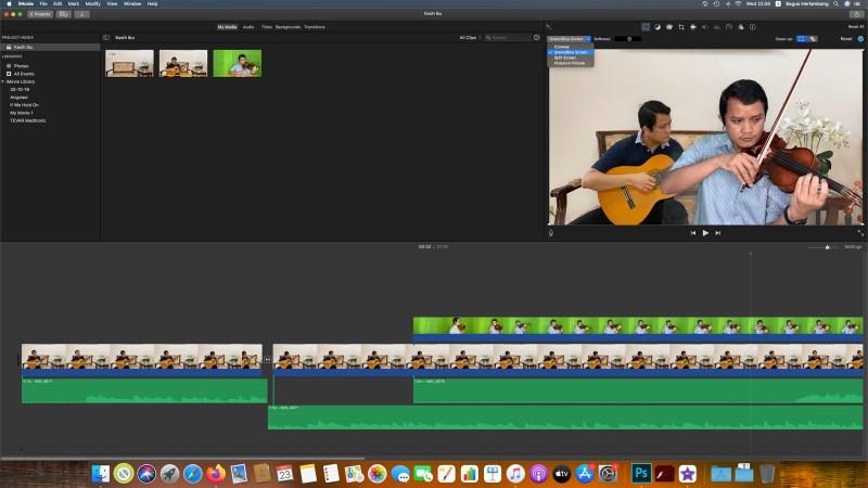 Menggabungkan dua video untuk membuat video kloning diri sendiri pakai green screen.