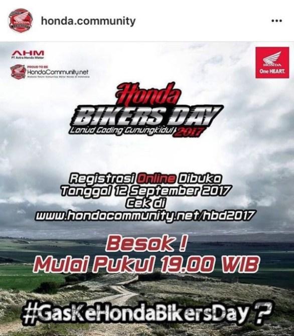 Pendaftaran Honda Bikers Day Online