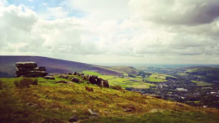 The Pots and Pans Stone overlooking Saddleworth