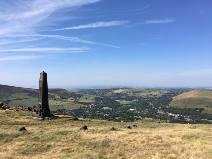 pots and pans obelisk overlooking Greenfield Saddleworth