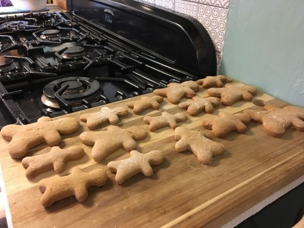 Freshly baked gingerbread men at Pots and Pans cottage Uppermill